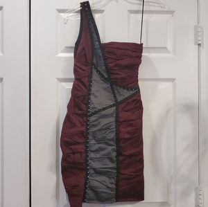Nicole Miller Burgundy Colorblock Latch Dress